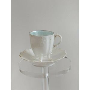 Vtg German White, Blue Cup & Saucer Footed Demi